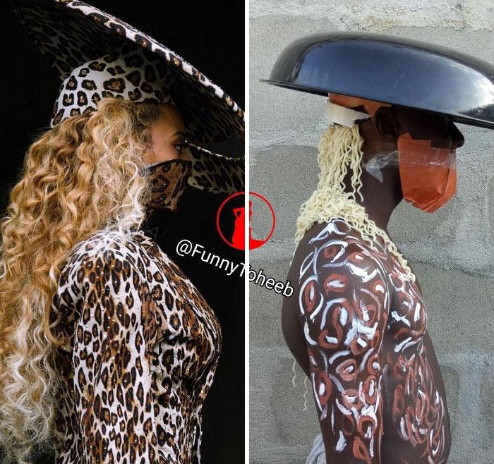 Beyoncé, chica posando de lado, usando antifaz de medio rostro y sombrero, ropa con detalles de leopardo, chico imitando su vestuario utilizando papel, plásticos, fierro