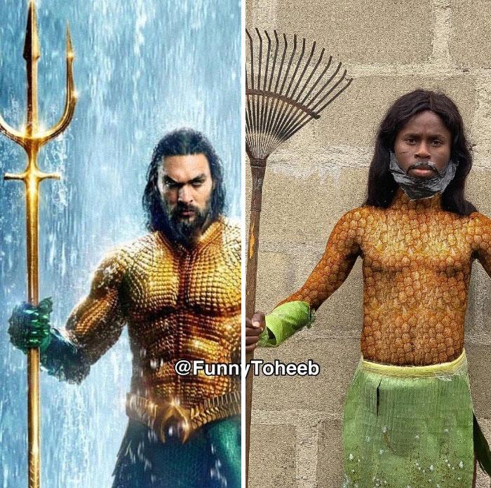 Jason Momoa, Aquaman, Hombre sin camisa, sujetando un tridente, chico imitando su vestuario utilizando papel, plásticos, fierro