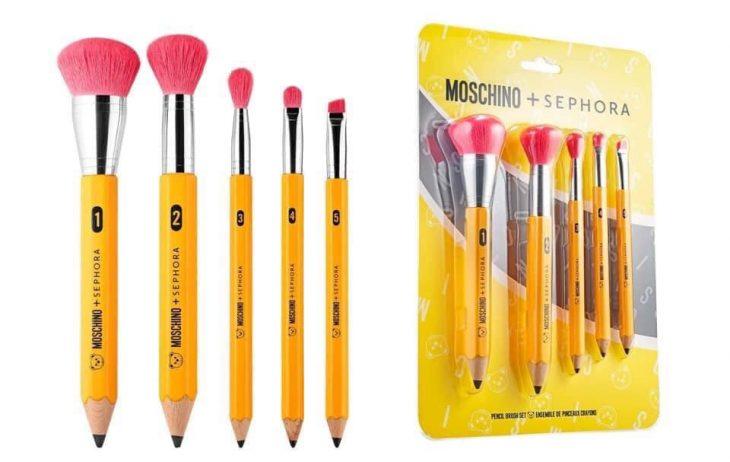 Set de brochas en forma de lápices de la nueva colección de maquillaje en colaboración con Moschino y Sephora
