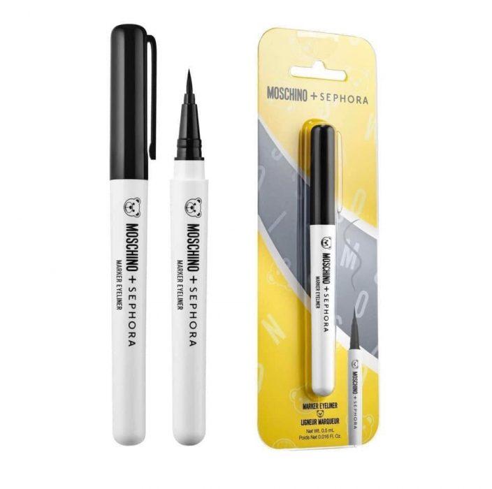 Delineador negro en forma de marcador permanente de la nueva colección de maquilla en colaboración con Moschino y Sephora