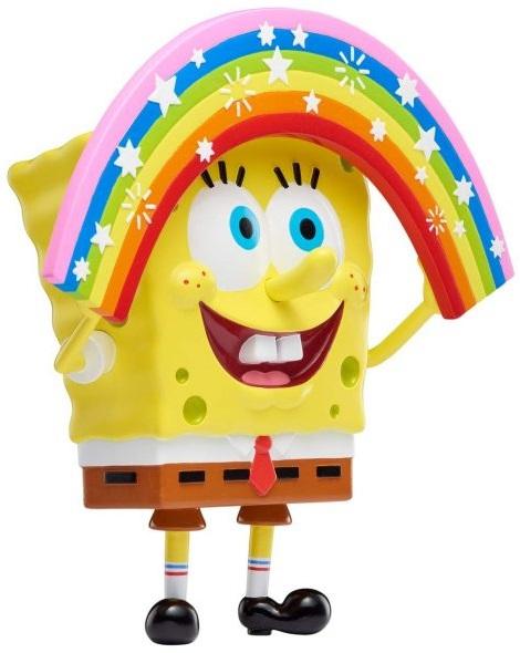 Figura coleccionable de meme de Bob Esponja con arcoíris en manos