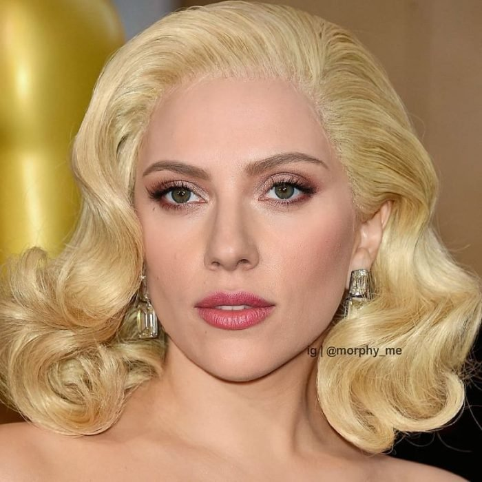Chica con pendientes plateados, cabello ondulado color amarillo, Lady Gaga, Scarlett Johansson, Morphy_Me