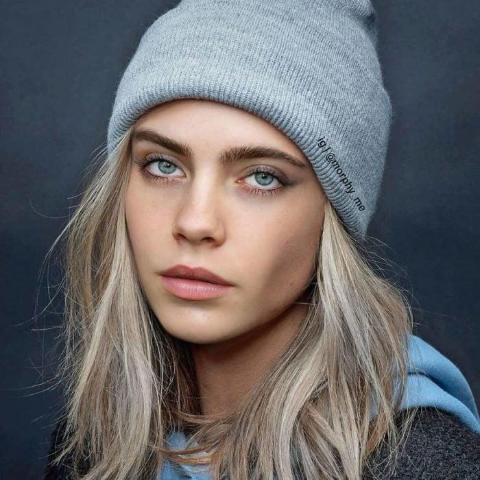 Chica llevando gorro tejido en su cabeza, Billie Eilish, Cara Delevigne, Morphy_Me