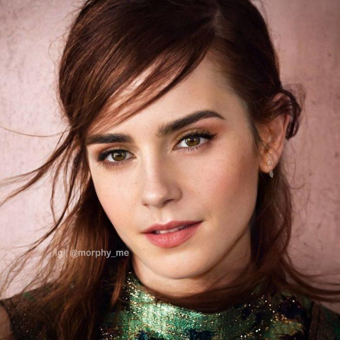 Chica con vestido verde brillante, cabello castaño, flequillo alborotado, Emma Watson, LiLy Collins, Morphy_Me