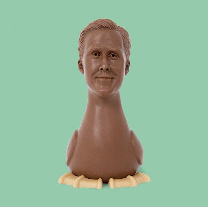 Chocolates en forma de ganso con el rostro de Ryan Gosling