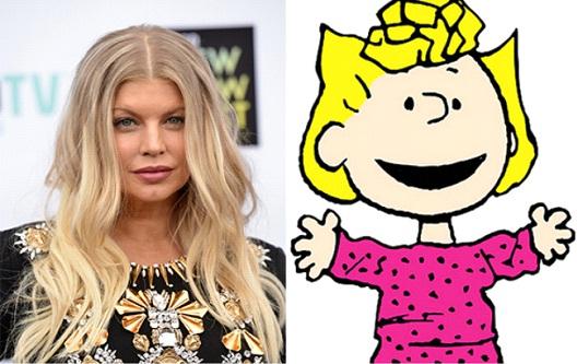 Chica con cabello largo y rubio, cubriendo su rostro con su melena, usando vestido negro con aplicaciones doradas, siendo comparada con el personaje de Sally de la caricatura Charlie Brown, Fergie