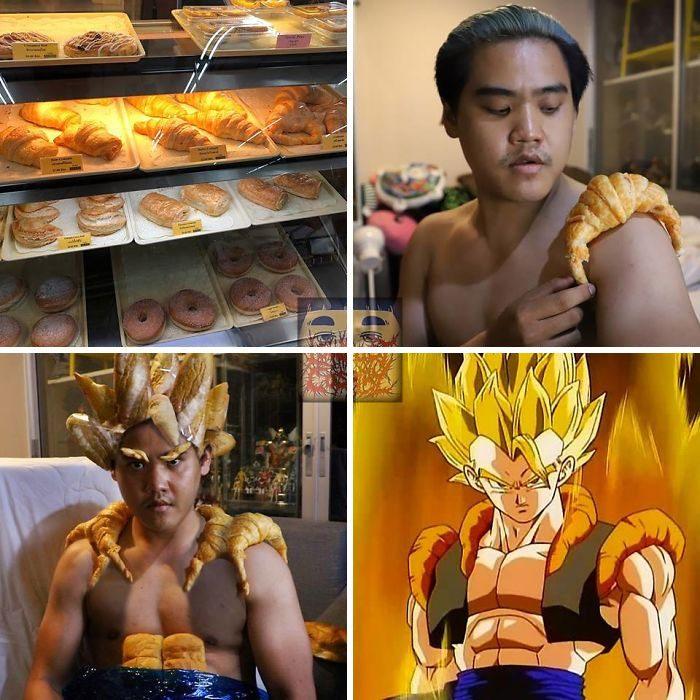 Chico colocándose un cuernito de pan dulce sobre el hombro para crear un disfraz de Goku usando piezas de pan, Anucha Saengchart, cosplay Dragon Ball
