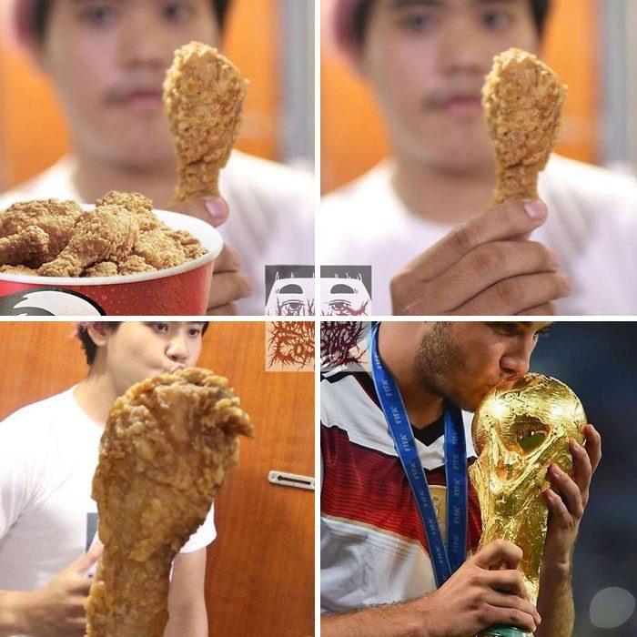Hombre con camisa blanca sosteniendo un muslo de pollo frito entre sus manos, Fifa, Anucha, cosplay