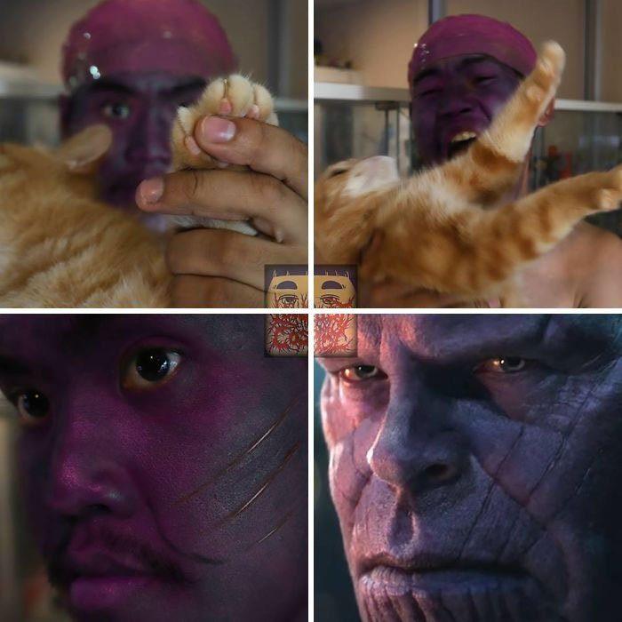Hombre con el rostro y el cabello teñidos de morado, sosteniendo un gato de color naranja, posando junto a una images de Thanos personaje de la película Avengers, Anucha, cosplay