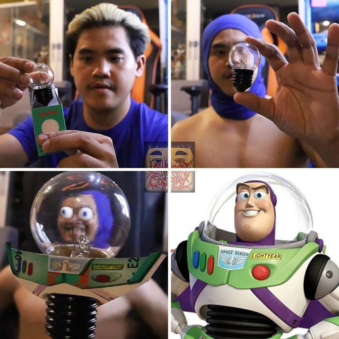 Chico con piel morena, cabello rubio, sosteniendo un foco entre sus dedos, disfrazado como Buzz Lightyear, Anucha Saengchart, cosplay