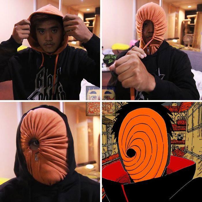 Chico usando sudadera oscura con gorro naranja con el que cubre su rostro para simular un personaje de Naruto, Anucha Saengchart, Cosplay