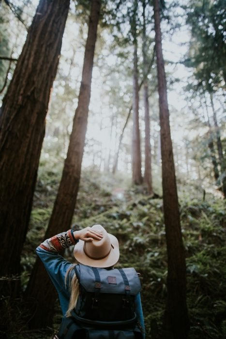 Chica parada en medio de un bosque sosteniendo su sombrero con una mano y admirando la naturaleza de escocia donde los doctores recetan viajes para sanar enfermos