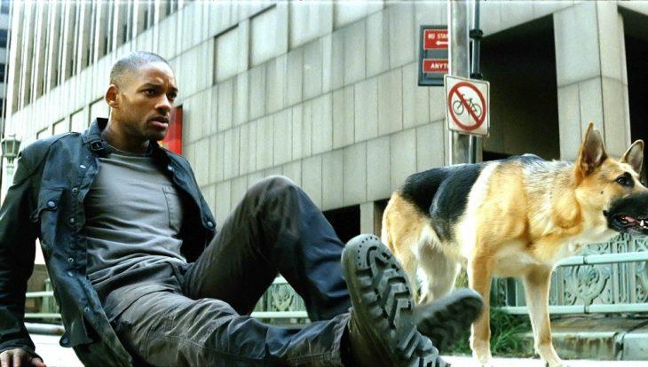 Hombre asustado sentado en el suelo acompañado de su perro pastor aleman, escena de la película Soy Leyenda