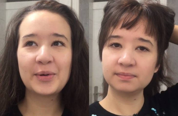Fails de chicas cortándose el cabello para cerrar ciclos, fleco chueco y mal cortado