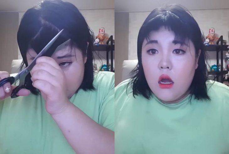 Fails de chicas cortándose el cabello para cerrar ciclos, chica coreana con fleco chueco y mal cortado