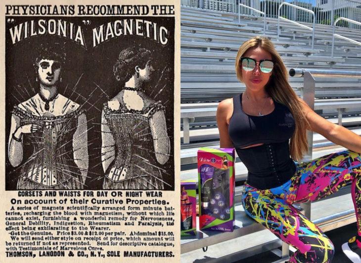Artículos viejos y nuevos de belleza; corset magnético antiguo y mujer usando faja reductora