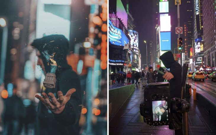 Chico parado a mitad de avenida sosteniendo en su mano una figurilla de la estatua de la libertad fotografía creativa de Omahi