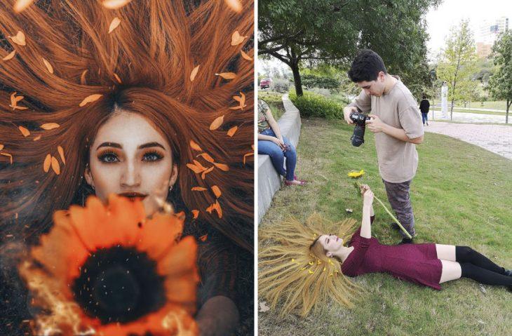 Chica recostada en el césped, sosteniendo un girasol entre sus manos, chico fotografiando desde un angulo superior, fotografía creativa de Omahi
