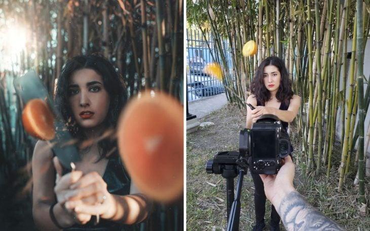 Chica partiendo una naranja por la mitad con un cuchillo grande y largo, fotografía creativa de Omahi