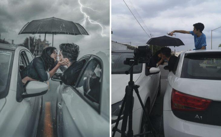 Pareja de novios besándose a través de las ventanillas de un automóvil, fotografía creativa de Omahi