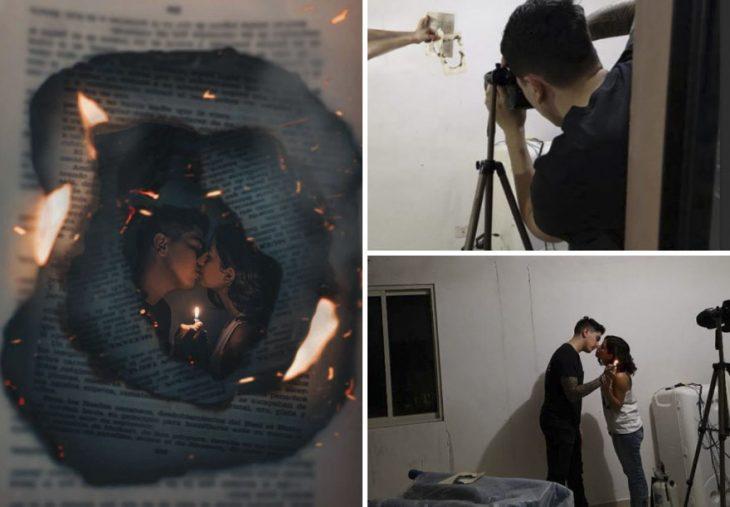 Pareja de novios besándose a través de un par de hojas de libros con fuego, fotografía creativa de Omahi