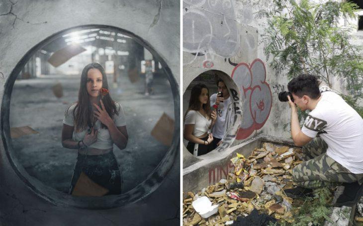 Chica dentro de un túnel, sosteniendo una rosa enter sus manos, mirando al frente, fotografía creativa de Omahi