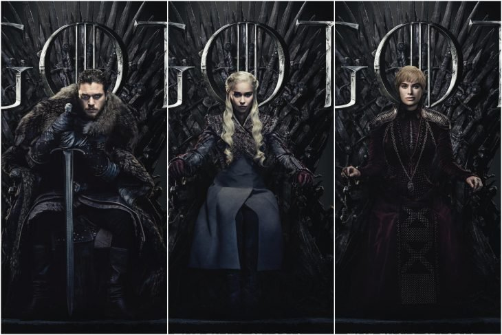 Temporada ocho de Game of Thrones, Jon Snow, Daenerys Targaryen y Cersei Lannister sentados en el trono