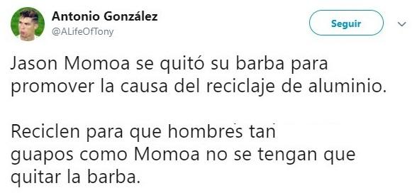 Tuit sobre Jason Momoa después de haber afeitado su barba en 12 años