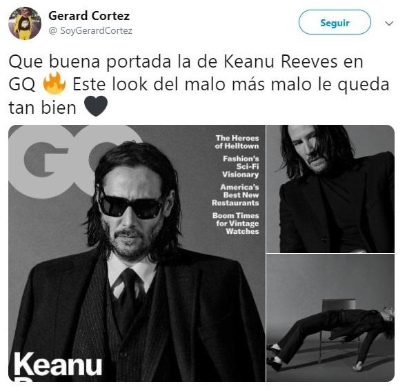 Tuit sobre Keanu Revees posando para la revista GQ, Jhon Wick: Parabellum