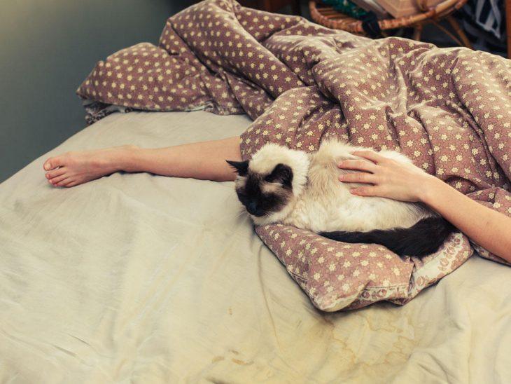 Una chica recostada en la cama, no se le ve el rostro mientras acaricia a un gato
