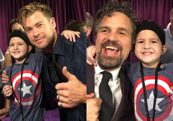 Felipe Andres Muyshondt, boy attends the world premiere of Avengers: Endgame and meets Chris Hemsworth, Thor and Mark Ruffalo, Hulk