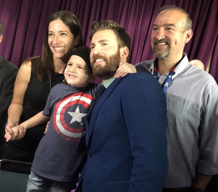 Felipe Andres Muyshondt, boy and his family with Chris Evans, Captain America, at the premiere of Avengers: Endgame