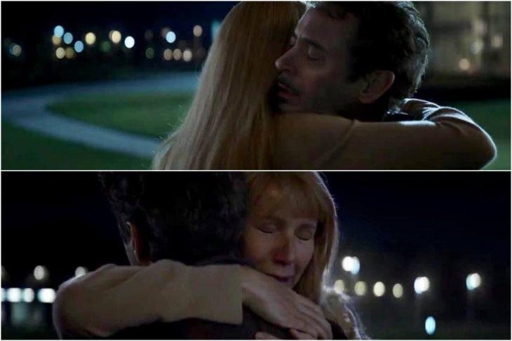 Chica de cabello rubio, tes blanca, silueta delgada, con abrigo beige, abrazando a un gombre con cabello canoso, parados frente a un jardín, nuevo tráiler Avengers: Endgame, Tony Stark, Pepper Potts