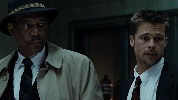 El actor Morgan Freeman y el actor Brad Pitt en la cinta Siete Pecados Capitales