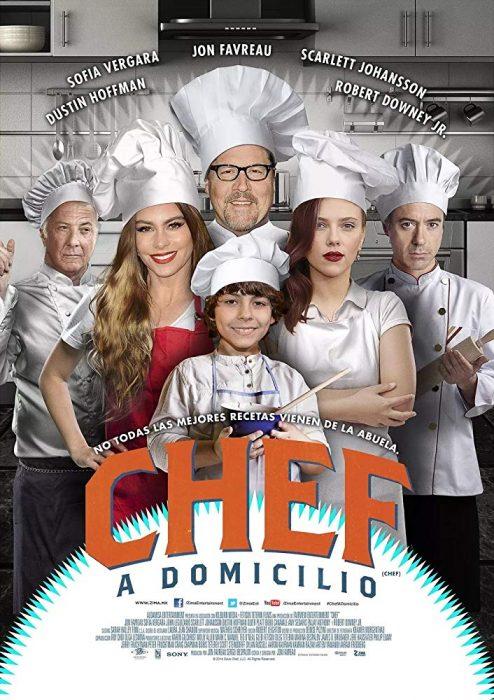 Poster de la película Chef a domicilio protagonizada por Robert Downey Jr y Scarlett Johansson