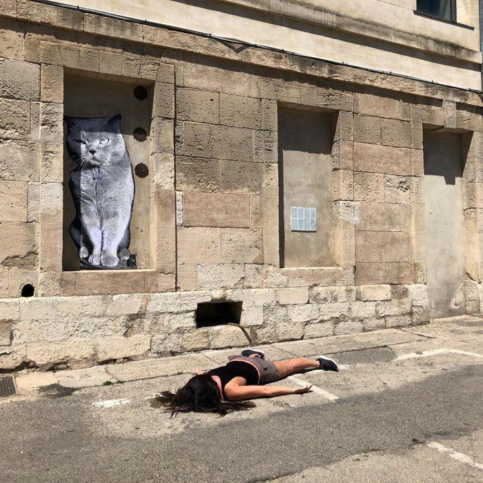 STEFDIES, la chica que se ha vuelto viral por sus antiselfies, selfie de mujer en el suelo bajo un gran gato gris en Francia