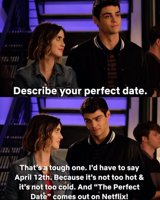 Los actores Laura Marano y el actor Noah Centineo conversando en la nueva cinta The Perfect Date