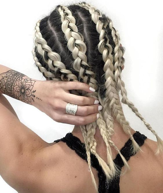 Girl with boxer style braids