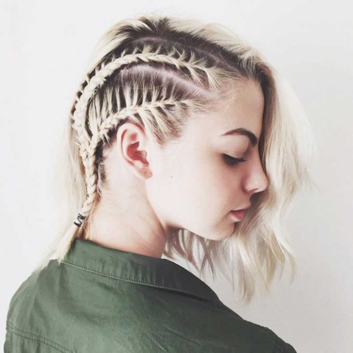 Blonde woman with short hair braids