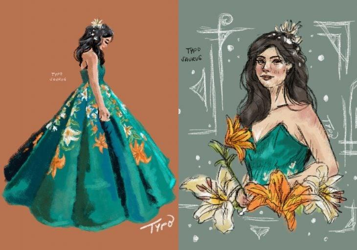 Ilustraciones de Ciara Gan, chica con vestido de princesa en su graduación, color verde esmeralda con flores amarillas y anaranjadas, lirios de tigre
