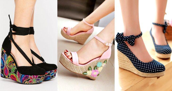 Wedges, sandalias perfectas para el calor, primavera o verano, zapatos de tacón alto y seguido, con detalles de flores tejidas, ornamentos y polka dots o puntos con moño