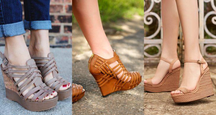 Wedges, sandalias perfectas para el calor, primavera o verano, zapatos de tacón alto seguido , con muchas cintas y efecto tejido