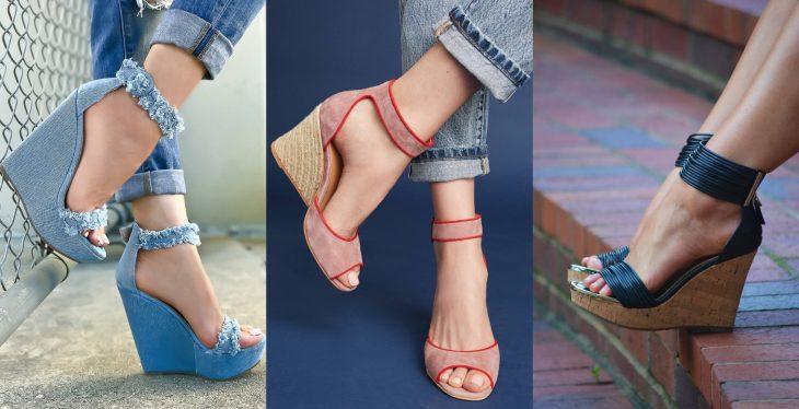 Wedges, sandalias perfectas para el calor, primavera o verano, zapatos de tacón alto seguido, con textura de mezclilla y pana de color azul y rosa salmón con suela tejida y de corcho