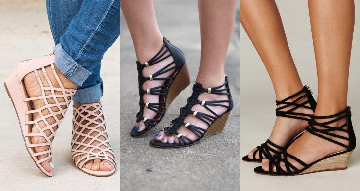 Wedges, sandalias perfectas para el calor, primavera o verano, zapatos de tacón bajo seguido, de color rosa, negro con correas y cintas