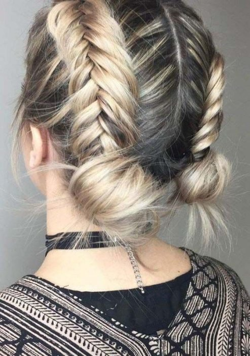 Hairstyle of two braids with blond hair and short