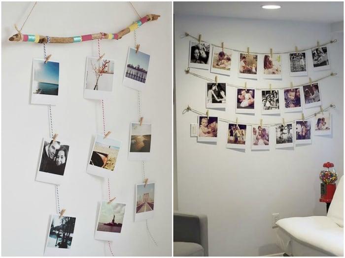 Fotografías pegadas en la pared colgadas con pinzas