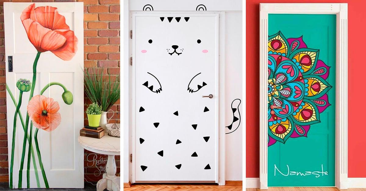 15 ideas de dise o para decorar la puerta de tu habitaci n for Disenos navidenos para decorar puertas
