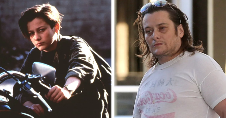 Edward Furlong a la izquierda interpretando el papel de John Connor en Terminator. A la derecha actualmente