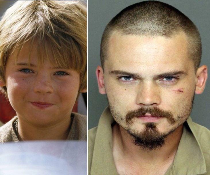 Jake Lloydcuando era niño en la película de Star Wars y después en su fotografía de convicto