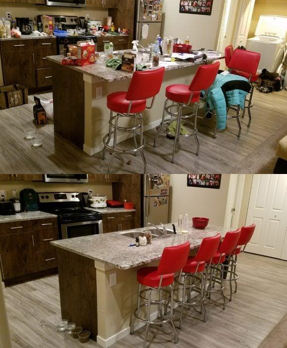 Fotografías de antes y después de una cocina desordenada y ordenada después de hacer limpieza